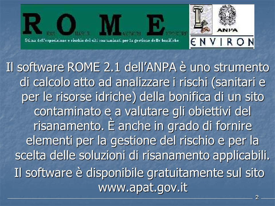 2 Il software ROME 2.1 dellANPA è uno strumento di calcolo atto ad analizzare i rischi (sanitari e per le risorse idriche) della bonifica di un sito c