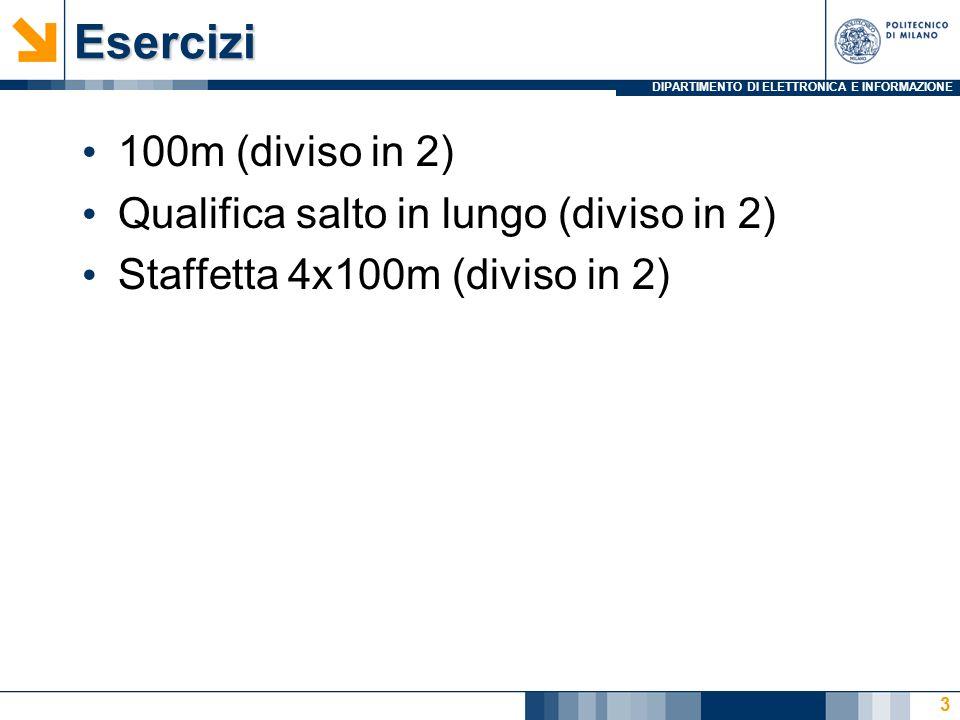 DIPARTIMENTO DI ELETTRONICA E INFORMAZIONEEsercizi 100m (diviso in 2) Qualifica salto in lungo (diviso in 2) Staffetta 4x100m (diviso in 2) 3