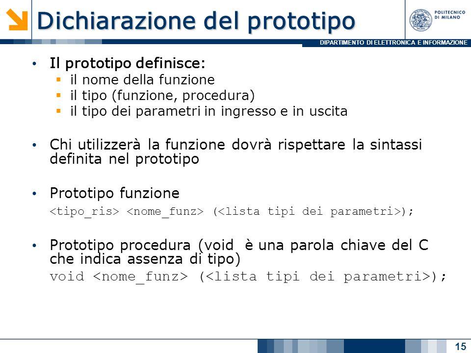DIPARTIMENTO DI ELETTRONICA E INFORMAZIONE Dichiarazione del prototipo Il prototipo definisce: il nome della funzione il tipo (funzione, procedura) il tipo dei parametri in ingresso e in uscita Chi utilizzerà la funzione dovrà rispettare la sintassi definita nel prototipo Prototipo funzione ( ); Prototipo procedura (void è una parola chiave del C che indica assenza di tipo) void ( ); 15