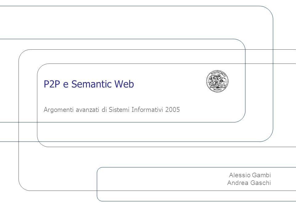 P2P e Semantic Web12 Clustering dei nodi I nodi che condividono gli stessi interessi o che possiedono informazioni relative a concetti correlati vengono messi logicamente vicini, per aumentare contemporaneamente l efficienza e l efficacia delle ricerche di informazioni nella rete.