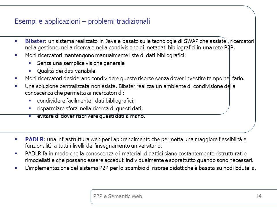 P2P e Semantic Web14 Esempi e applicazioni – problemi tradizionali Bibster: un sistema realizzato in Java e basato sulle tecnologie di SWAP che assiste i ricercatori nella gestione, nella ricerca e nella condivisione di metadati bibliografici in una rete P2P.
