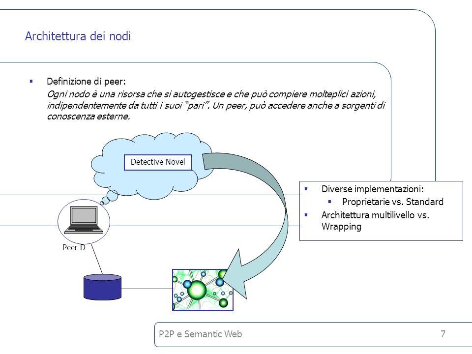 P2P e Semantic Web8 Joining the network Nel momento in cui un nodo vuole partecipare ad una rete P2P deve notificare la sua presenza (per ricevere le richieste), fornendo informazioni su se stesso alla rete, e deve recuperare informazioni sulla rete stessa o sui suoi partecipanti (per poter inviare le query).