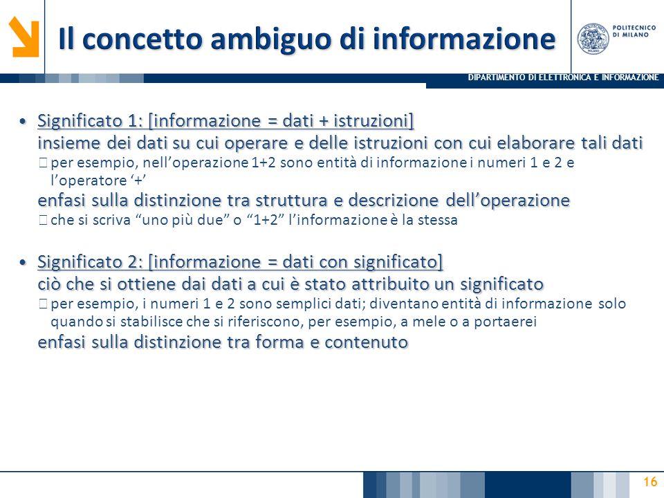 DIPARTIMENTO DI ELETTRONICA E INFORMAZIONE 16 Significato 1: [informazione = dati + istruzioni] insieme dei dati su cui operare e delle istruzioni con