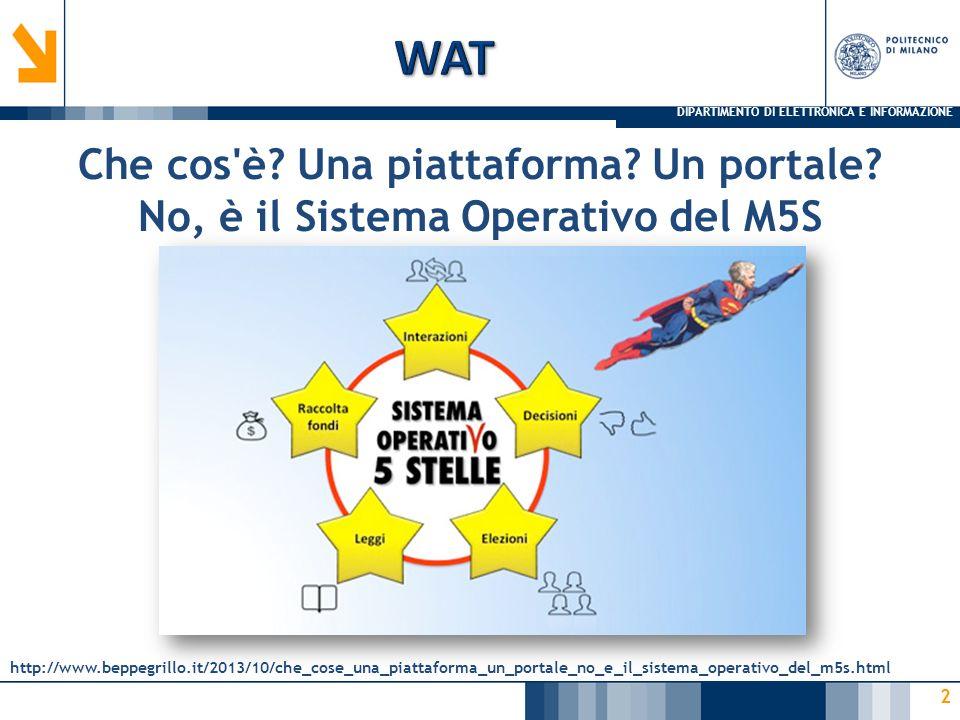DIPARTIMENTO DI ELETTRONICA E INFORMAZIONE 2 Che cos'è? Una piattaforma? Un portale? No, è il Sistema Operativo del M5S http://www.beppegrillo.it/2013
