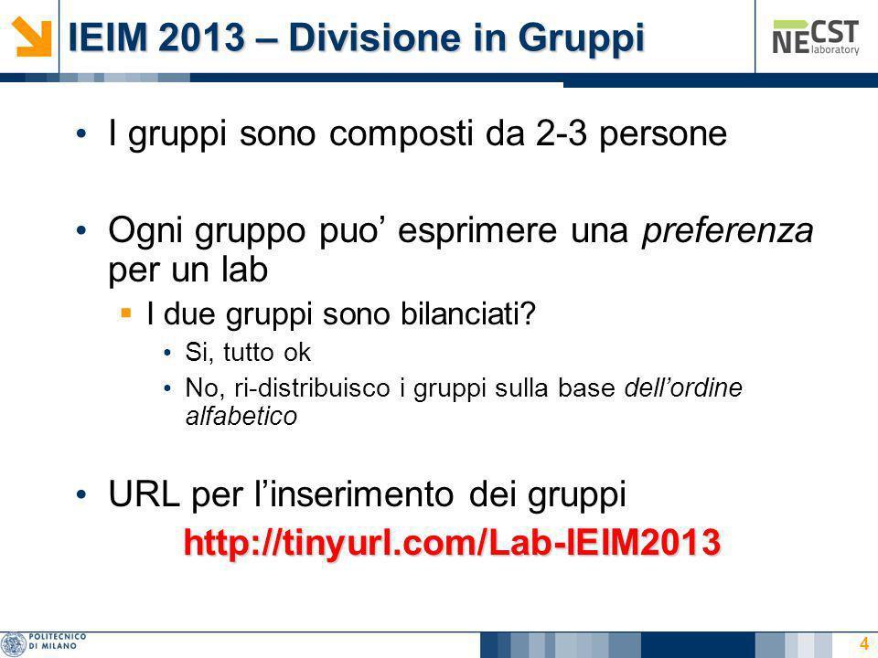 IEIM 2013 – Divisione in Gruppi I gruppi sono composti da 2-3 persone Ogni gruppo puo esprimere una preferenza per un lab I due gruppi sono bilanciati.