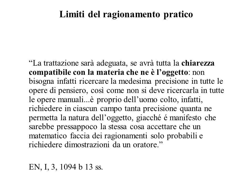 Limiti del ragionamento pratico La trattazione sarà adeguata, se avrà tutta la chiarezza compatibile con la materia che ne è loggetto: non bisogna inf