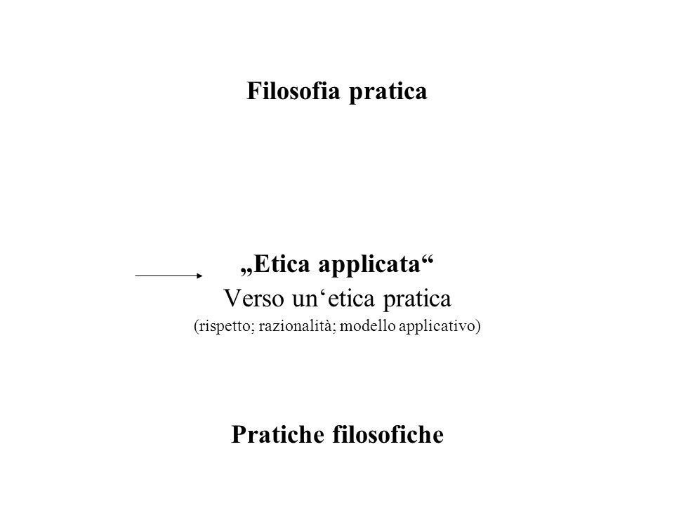 Filosofia pratica Etica applicata Verso unetica pratica (rispetto; razionalità; modello applicativo) Pratiche filosofiche