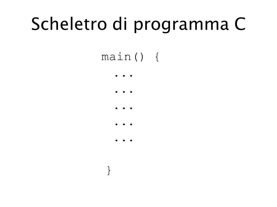Scheletro di programma C main() {... }