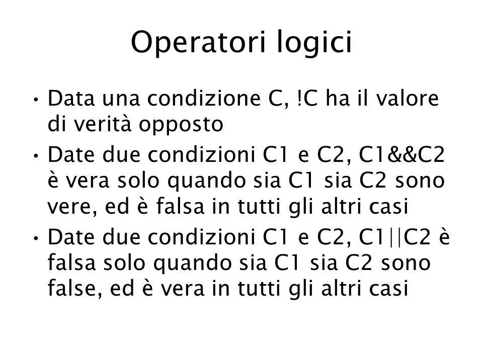 Operatori logici Data una condizione C, !C ha il valore di verità opposto Date due condizioni C1 e C2, C1&&C2 è vera solo quando sia C1 sia C2 sono vere, ed è falsa in tutti gli altri casi Date due condizioni C1 e C2, C1  C2 è falsa solo quando sia C1 sia C2 sono false, ed è vera in tutti gli altri casi