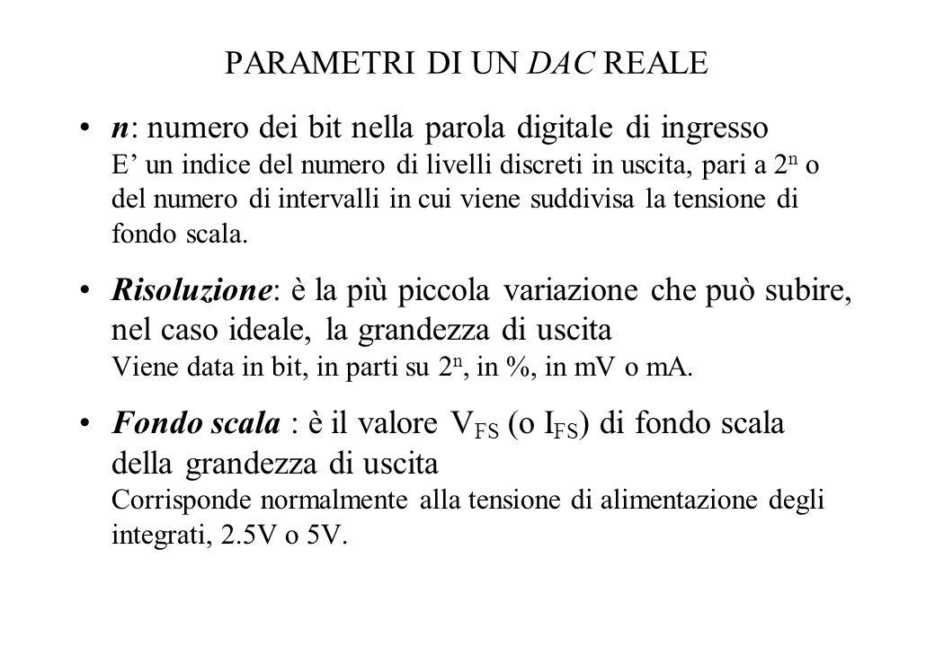 PARAMETRI DI UN DAC REALE n: numero dei bit nella parola digitale di ingresso E un indice del numero di livelli discreti in uscita, pari a 2 n o del n