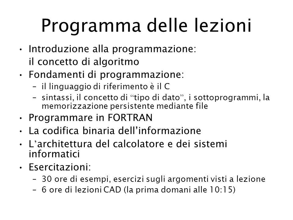 Programma delle lezioni Introduzione alla programmazione: il concetto di algoritmo Fondamenti di programmazione: –il linguaggio di riferimento è il C