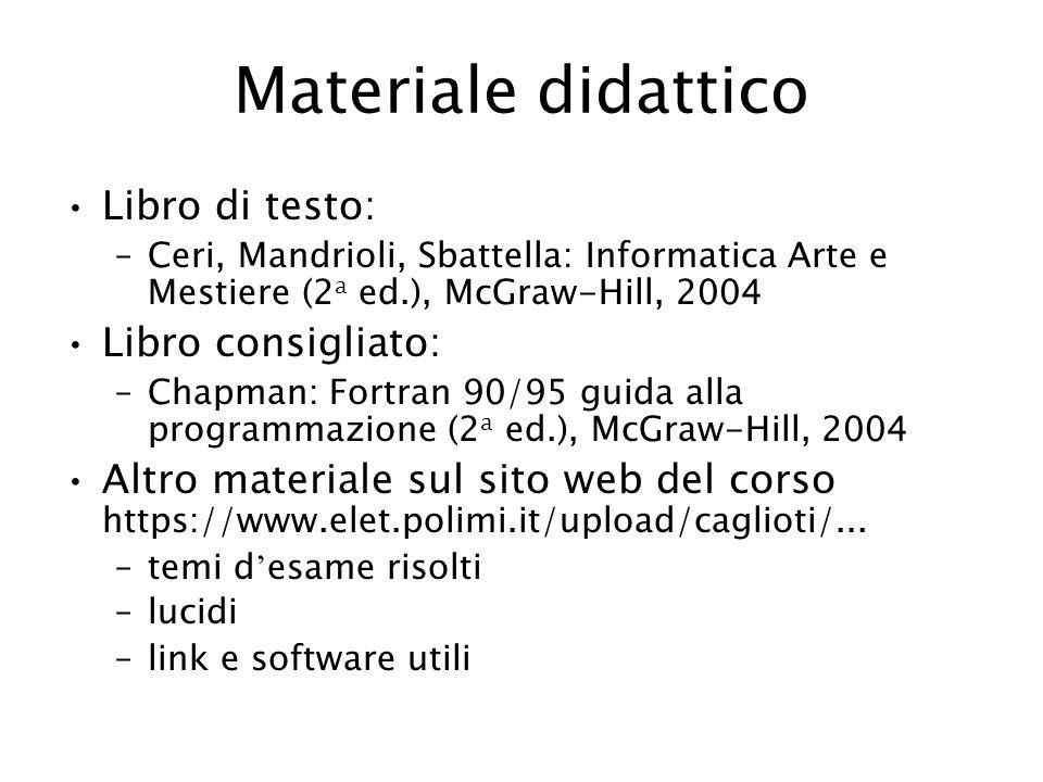 Materiale didattico Libro di testo: –Ceri, Mandrioli, Sbattella: Informatica Arte e Mestiere (2 a ed.), McGraw-Hill, 2004 Libro consigliato: –Chapman: