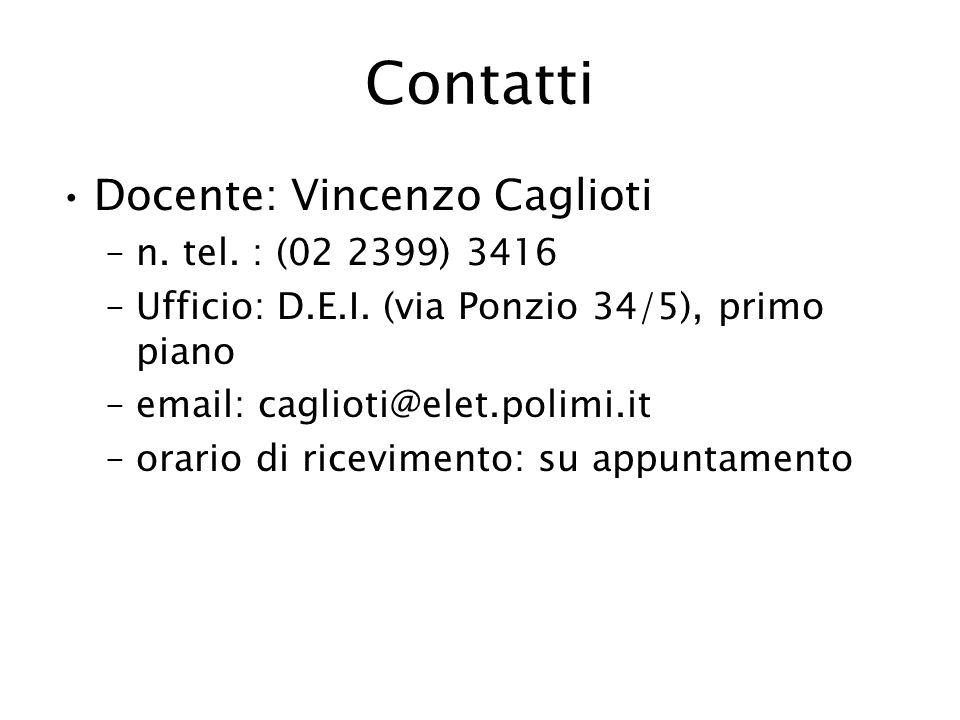 Contatti Docente: Vincenzo Caglioti –n. tel. : (02 2399) 3416 –Ufficio: D.E.I. (via Ponzio 34/5), primo piano –email: caglioti@elet.polimi.it –orario
