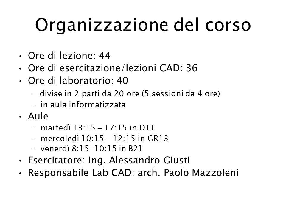 Organizzazione del corso Ore di lezione: 44 Ore di esercitazione/lezioni CAD: 36 Ore di laboratorio: 40 - divise in 2 parti da 20 ore (5 sessioni da 4