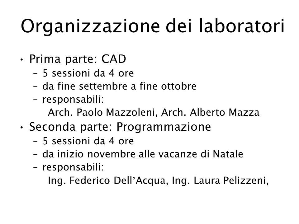 Organizzazione dei laboratori Prima parte: CAD –5 sessioni da 4 ore –da fine settembre a fine ottobre –responsabili: Arch. Paolo Mazzoleni, Arch. Albe