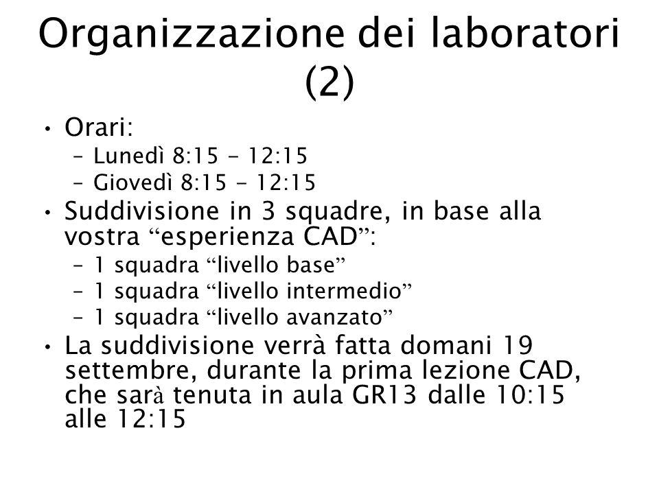 Organizzazione dei laboratori (2) Orari: –Lunedì 8:15 - 12:15 –Giovedì 8:15 - 12:15 Suddivisione in 3 squadre, in base alla vostra esperienza CAD : –1