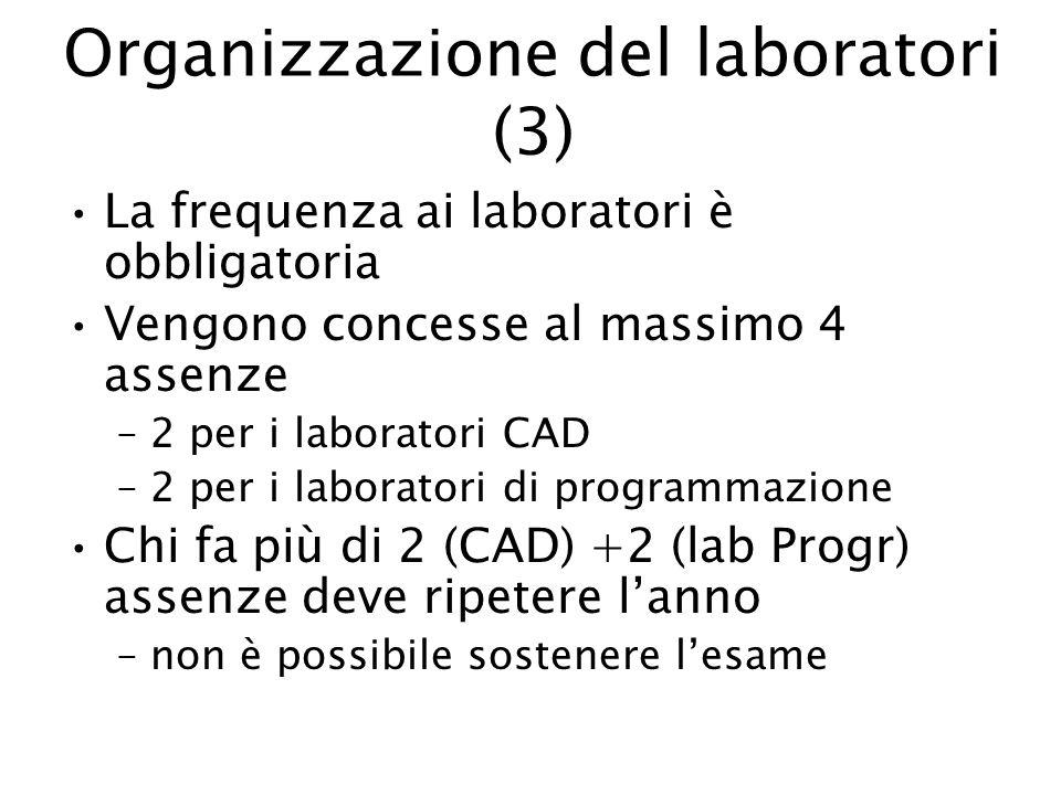Organizzazione del laboratori (3) La frequenza ai laboratori è obbligatoria Vengono concesse al massimo 4 assenze –2 per i laboratori CAD –2 per i lab