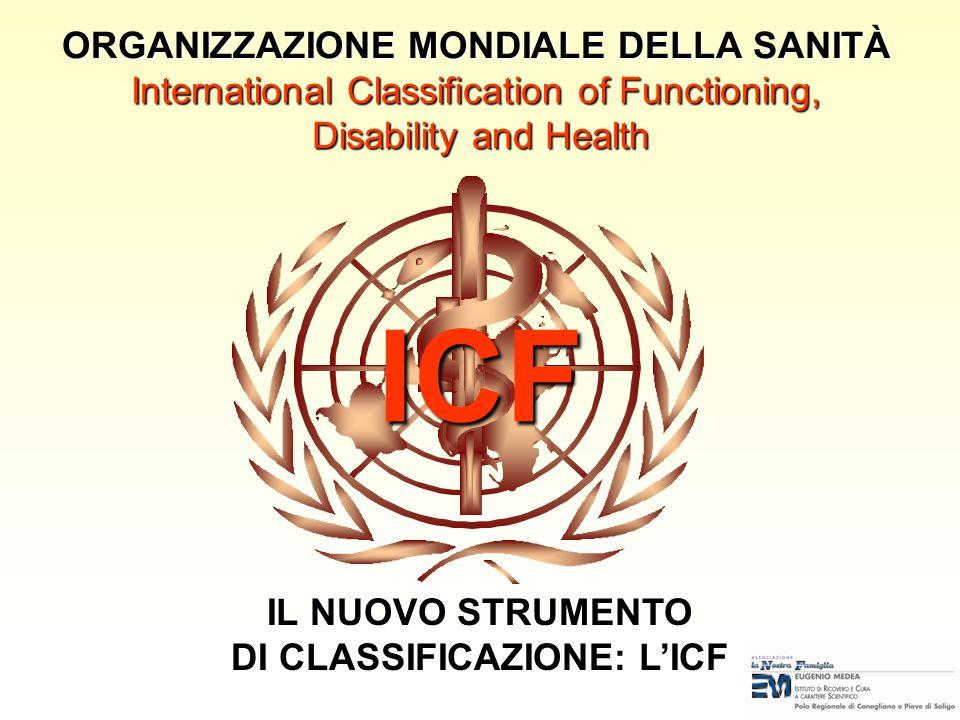 ICF ORGANIZZAZIONE MONDIALE DELLA SANITÀ International Classification of Functioning, Disability and Health IL NUOVO STRUMENTO DI CLASSIFICAZIONE: LICF