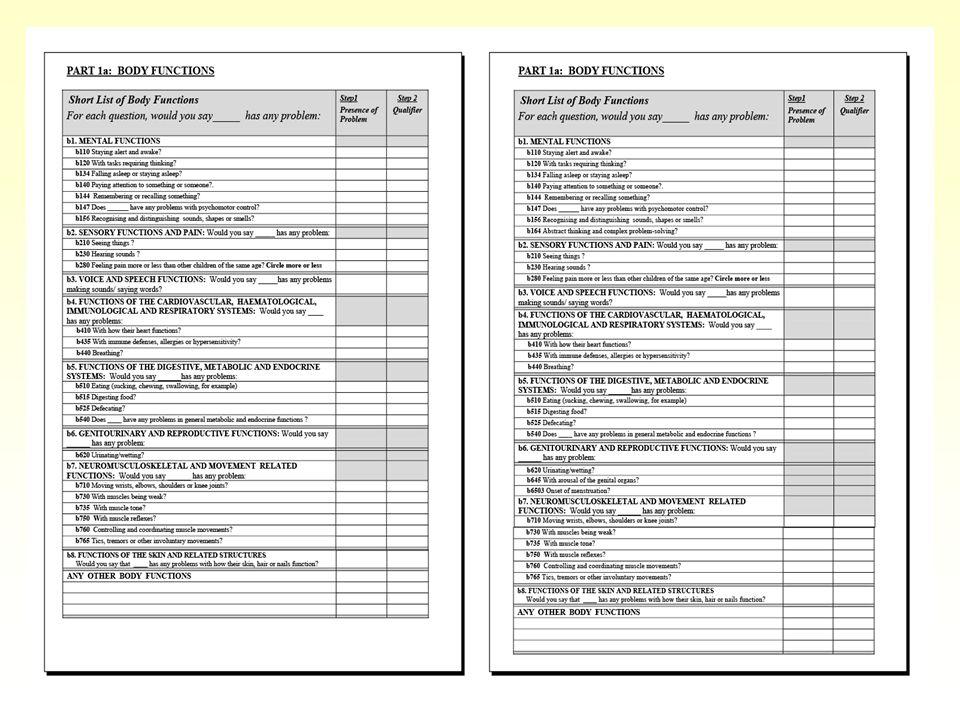 QUESTIONARI ICF-CY 4 questionari suddivisi per fasce detà: 0-3, 4-6, 7-12, 13-18 anni Formati dai codici più rilevanti per ogni fascia detà Elaborati