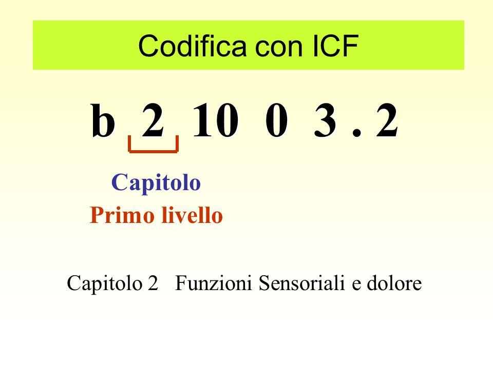 b 2 10 0 3. 2 Codifica con ICF e = Fattori Ambientali Componente d = Attività e Partecipazione s = Strutture Corporee b = Funzioni Corporee