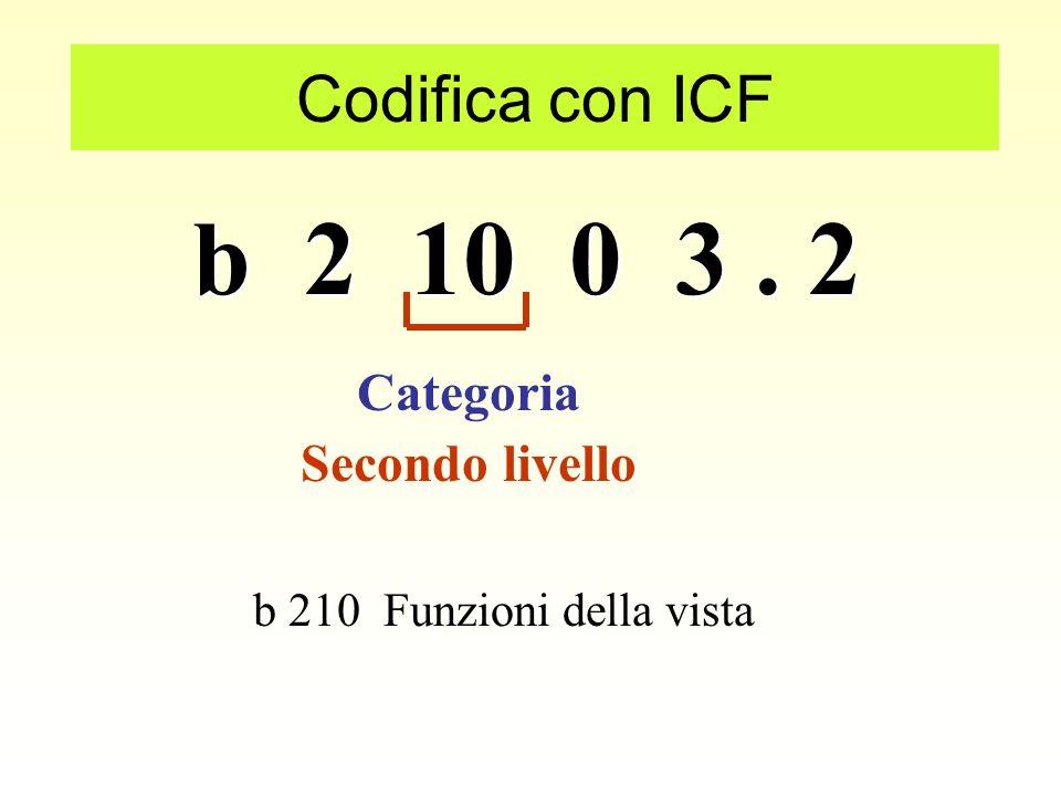 b 2 10 0 3. 2 Codifica con ICF Primo livello Capitolo Capitolo 2 Funzioni Sensoriali e dolore