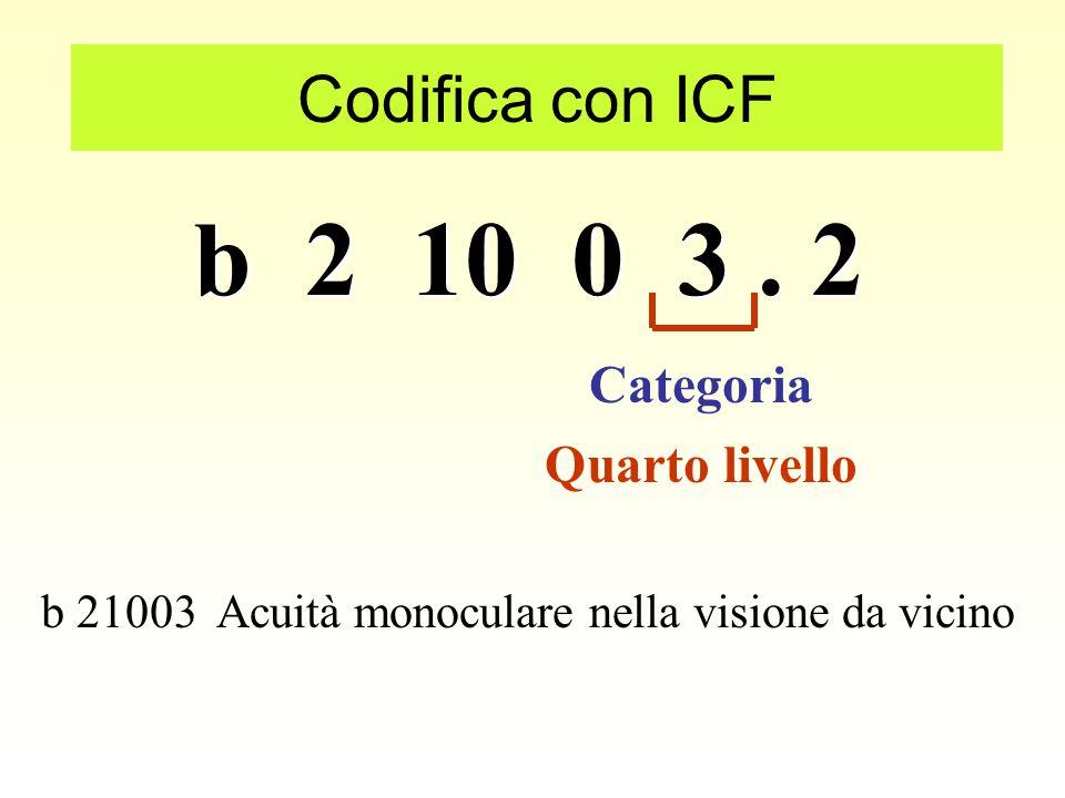 b 2 10 0 3. 2 Codifica con ICF Secondo livello Categoria b 210 Funzioni della vista