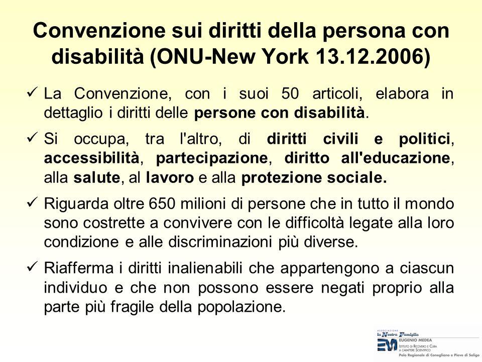 La Convenzione, con i suoi 50 articoli, elabora in dettaglio i diritti delle persone con disabilità.