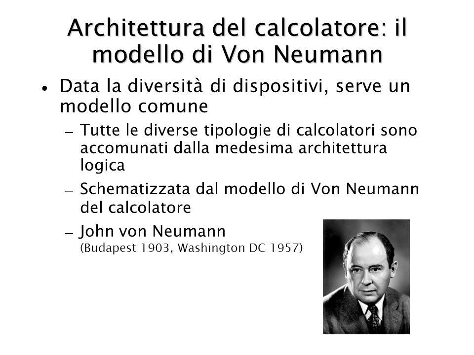 Architettura del calcolatore: il modello di Von Neumann Data la diversità di dispositivi, serve un modello comune – Tutte le diverse tipologie di calcolatori sono accomunati dalla medesima architettura logica – Schematizzata dal modello di Von Neumann del calcolatore – John von Neumann (Budapest 1903, Washington DC 1957)