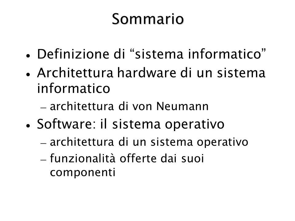 Sommario Definizione di sistema informatico Architettura hardware di un sistema informatico – architettura di von Neumann Software: il sistema operati