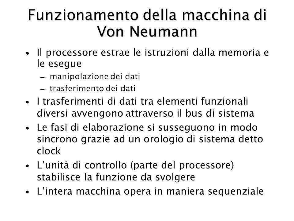 Funzionamento della macchina di Von Neumann Il processore estrae le istruzioni dalla memoria e le esegue – manipolazione dei dati – trasferimento dei dati I trasferimenti di dati tra elementi funzionali diversi avvengono attraverso il bus di sistema Le fasi di elaborazione si susseguono in modo sincrono grazie ad un orologio di sistema detto clock Lunità di controllo (parte del processore) stabilisce la funzione da svolgere Lintera macchina opera in maniera sequenziale