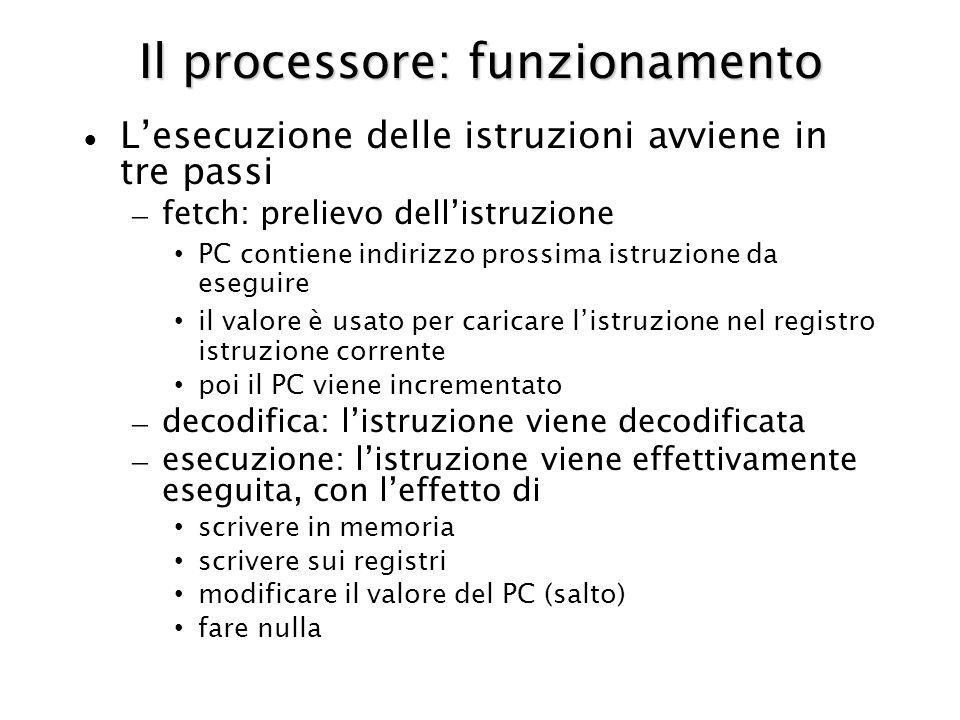 Il processore: funzionamento Lesecuzione delle istruzioni avviene in tre passi – fetch: prelievo dellistruzione PC contiene indirizzo prossima istruzi