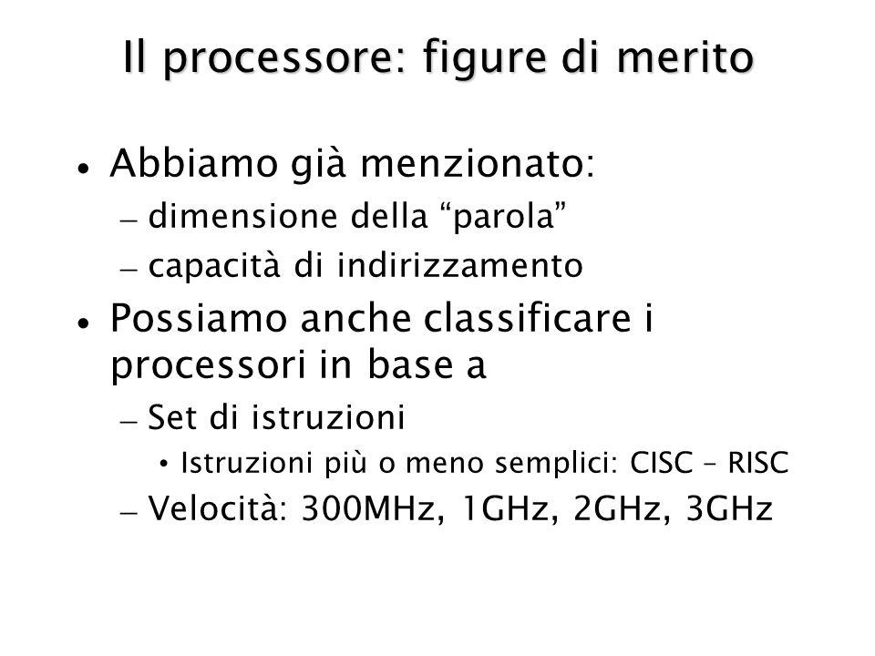 Il processore: figure di merito Abbiamo già menzionato: – dimensione della parola – capacità di indirizzamento Possiamo anche classificare i processori in base a – Set di istruzioni Istruzioni più o meno semplici: CISC – RISC – Velocità: 300MHz, 1GHz, 2GHz, 3GHz