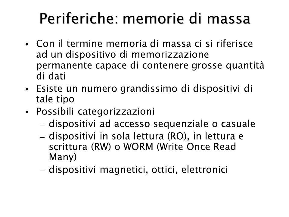 Periferiche: memorie di massa Con il termine memoria di massa ci si riferisce ad un dispositivo di memorizzazione permanente capace di contenere grosse quantità di dati Esiste un numero grandissimo di dispositivi di tale tipo Possibili categorizzazioni – dispositivi ad accesso sequenziale o casuale – dispositivi in sola lettura (RO), in lettura e scrittura (RW) o WORM (Write Once Read Many) – dispositivi magnetici, ottici, elettronici
