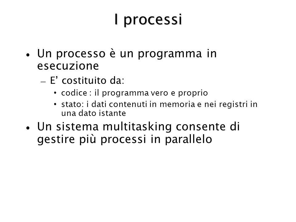 I processi Un processo è un programma in esecuzione – E costituito da: codice : il programma vero e proprio stato: i dati contenuti in memoria e nei registri in una dato istante Un sistema multitasking consente di gestire più processi in parallelo