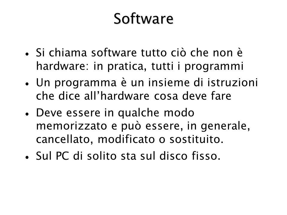 Software Si chiama software tutto ciò che non è hardware: in pratica, tutti i programmi Un programma è un insieme di istruzioni che dice allhardware cosa deve fare Deve essere in qualche modo memorizzato e può essere, in generale, cancellato, modificato o sostituito.