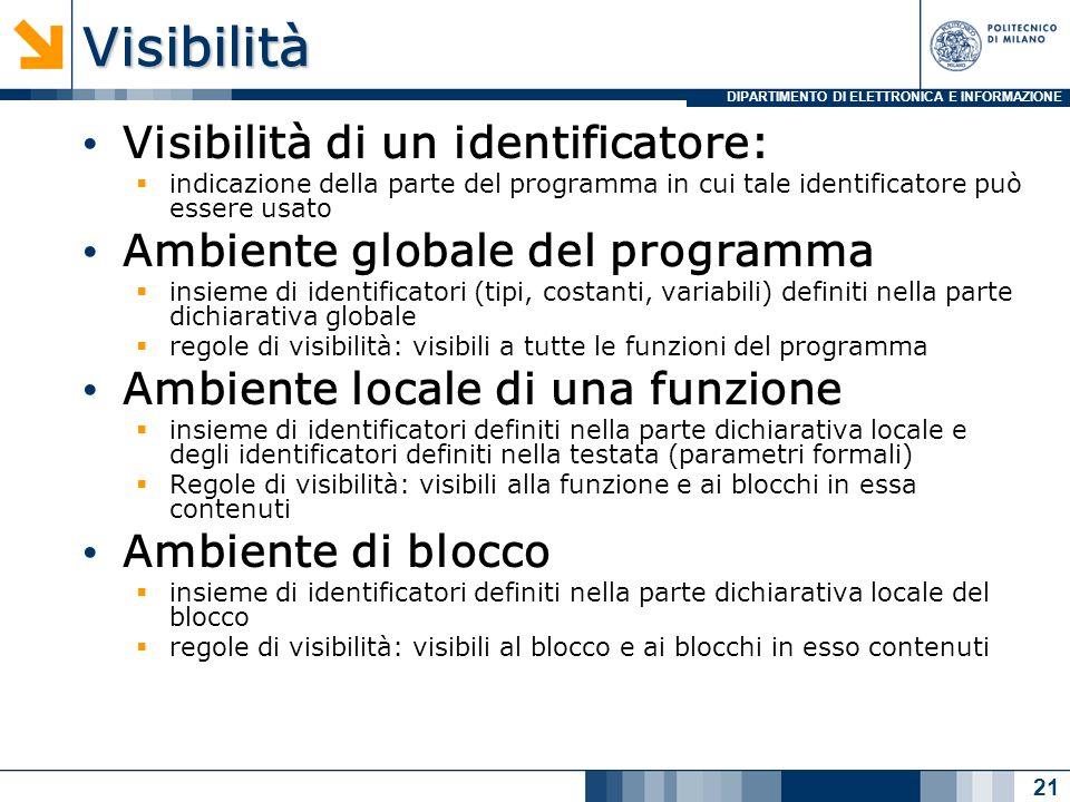 DIPARTIMENTO DI ELETTRONICA E INFORMAZIONEVisibilità Visibilità di un identificatore: indicazione della parte del programma in cui tale identificatore