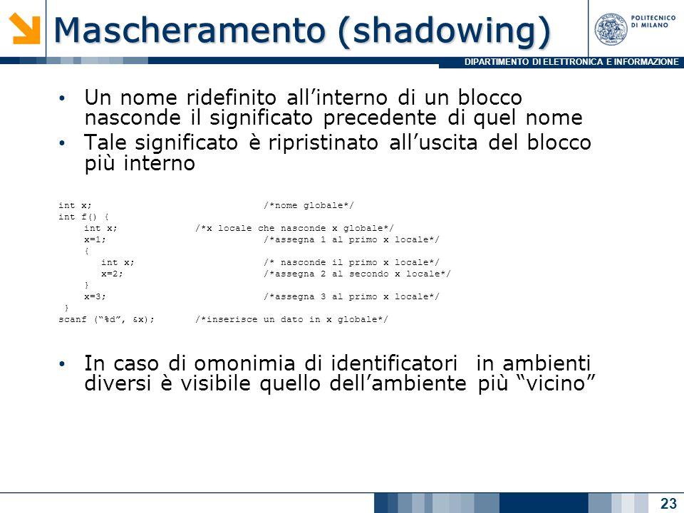 DIPARTIMENTO DI ELETTRONICA E INFORMAZIONE Mascheramento (shadowing) Un nome ridefinito allinterno di un blocco nasconde il significato precedente di quel nome Tale significato è ripristinato alluscita del blocco più interno int x; /*nome globale*/ int f() { int x; /*x locale che nasconde x globale*/ x=1; /*assegna 1 al primo x locale*/ { int x; /* nasconde il primo x locale*/ x=2; /*assegna 2 al secondo x locale*/ } x=3; /*assegna 3 al primo x locale*/ } scanf (%d, &x); /*inserisce un dato in x globale*/ In caso di omonimia di identificatori in ambienti diversi è visibile quello dellambiente più vicino 23