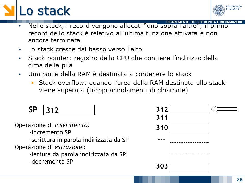 DIPARTIMENTO DI ELETTRONICA E INFORMAZIONE Lo stack Nello stack, i record vengono allocati uno sopra laltro; il primo record dello stack è relativo allultima funzione attivata e non ancora terminata Lo stack cresce dal basso verso lalto Stack pointer: registro della CPU che contiene lindirizzo della cima della pila Una parte della RAM è destinata a contenere lo stack Stack overflow: quando larea della RAM destinata allo stack viene superata (troppi annidamenti di chiamate) 28 312 311 310 303...