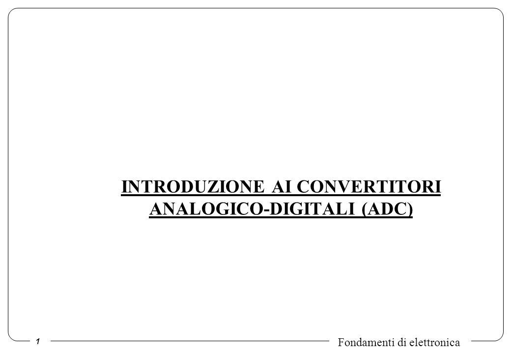 1 Fondamenti di elettronica INTRODUZIONE AI CONVERTITORI ANALOGICO-DIGITALI (ADC)