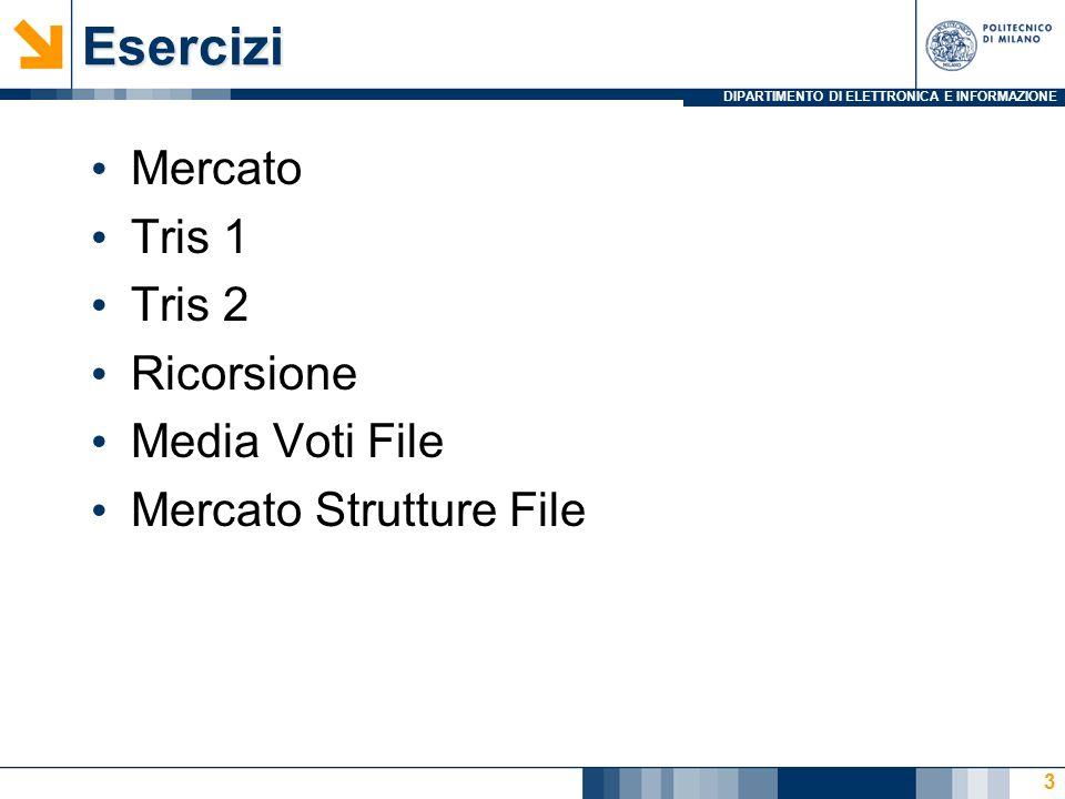 DIPARTIMENTO DI ELETTRONICA E INFORMAZIONEEsercizi Mercato Tris 1 Tris 2 Ricorsione Media Voti File Mercato Strutture File 3