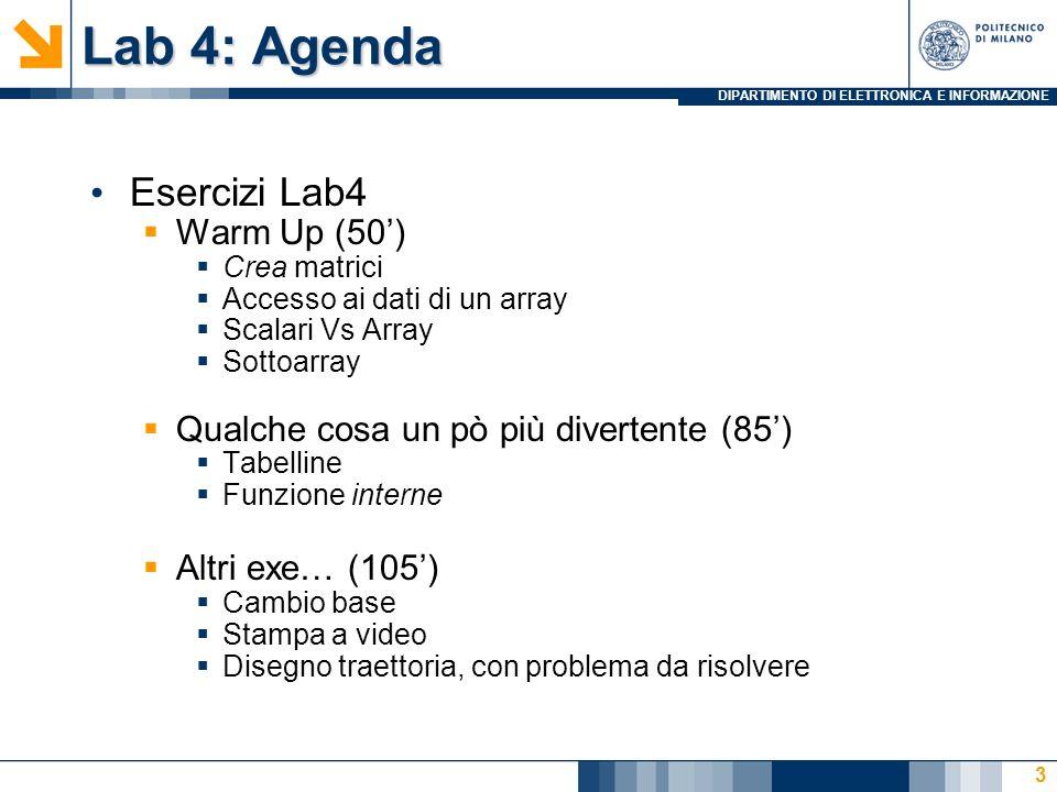 DIPARTIMENTO DI ELETTRONICA E INFORMAZIONE Lab 4: Agenda Esercizi Lab4 Warm Up (50) Crea matrici Accesso ai dati di un array Scalari Vs Array Sottoarr