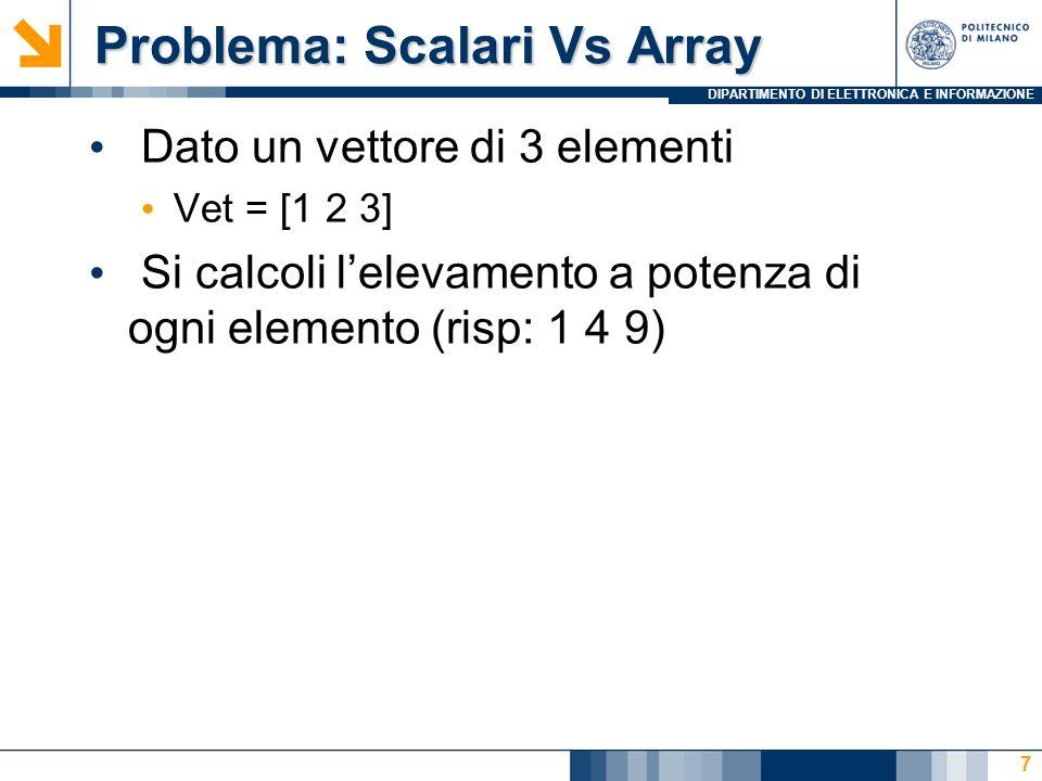 DIPARTIMENTO DI ELETTRONICA E INFORMAZIONE Problema: Sottoarray Problema: Sottoarray Dato una matrice temp Si sostituisca la seconda riga con: -1 -2 -3 E la quarta riga con: -4 -5 -6 8