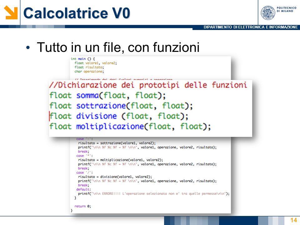 DIPARTIMENTO DI ELETTRONICA E INFORMAZIONE Calcolatrice V0 Tutto in un file, con funzioni 14