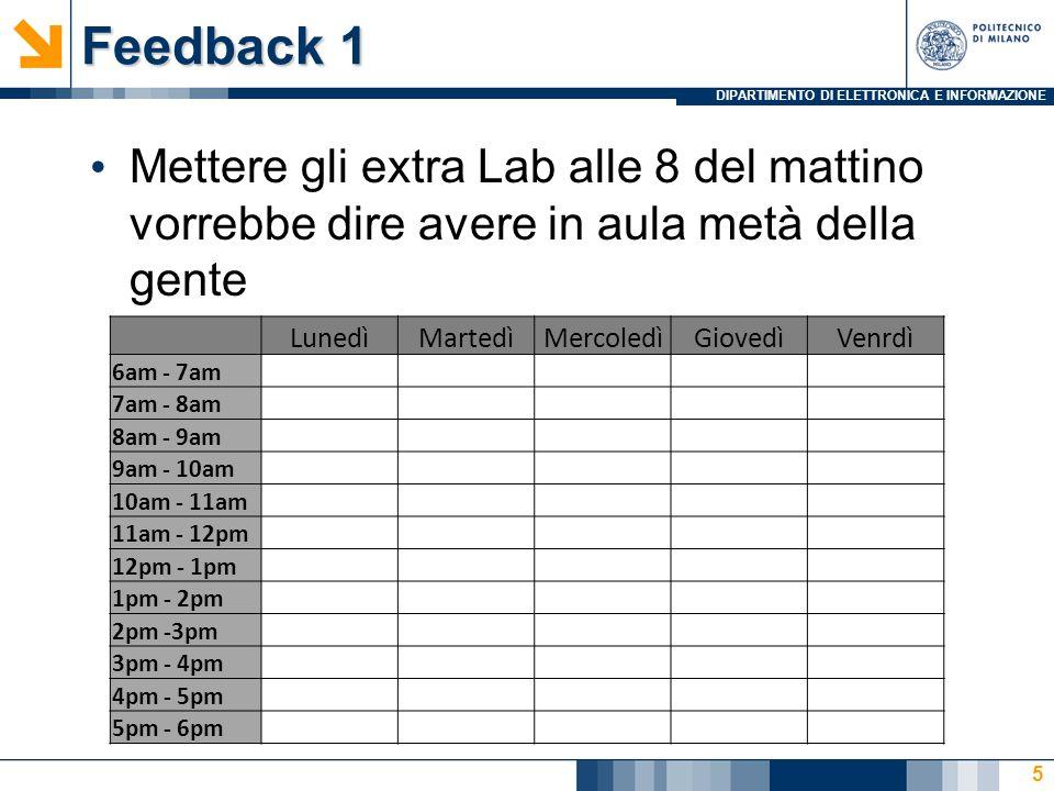 DIPARTIMENTO DI ELETTRONICA E INFORMAZIONE Feedback 1 Mettere gli extra Lab alle 8 del mattino vorrebbe dire avere in aula metà della gente 5 LunedìMa