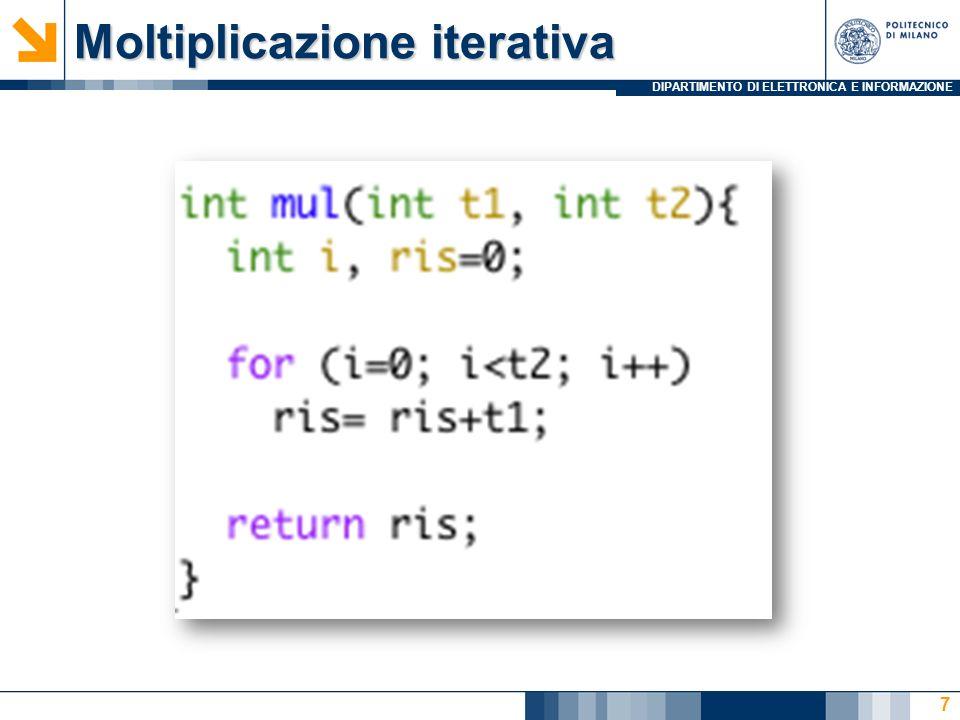 DIPARTIMENTO DI ELETTRONICA E INFORMAZIONE Moltiplicazione ricorsiva ERRATA 8