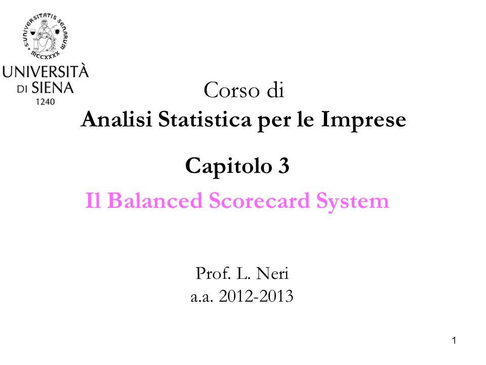 1 Capitolo 3 Il Balanced Scorecard System Corso di Analisi Statistica per le Imprese Prof. L. Neri a.a. 2012-2013