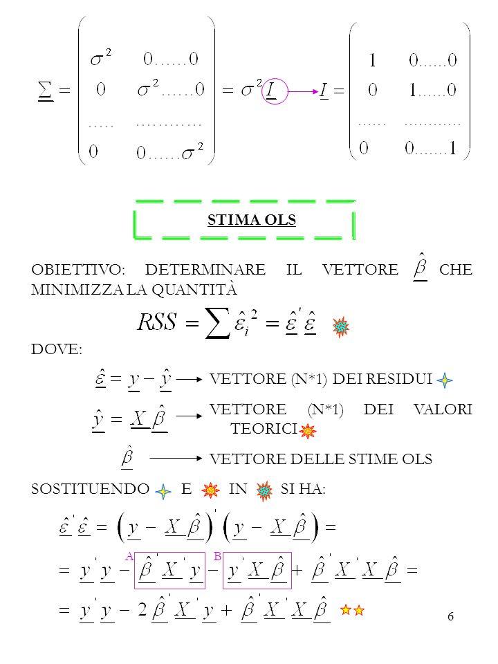 17 La prima condizione è verificata: essendo gli stimatori OLS non distorti per n finito, lo sono anche asintoticamente.
