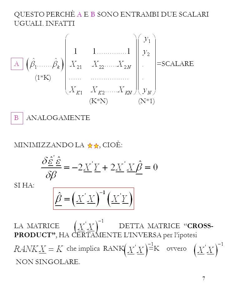8 DIMENSIONI DELLE MATRICI MATRICE CROSS-PRODUCT = (K*N) (N*K)