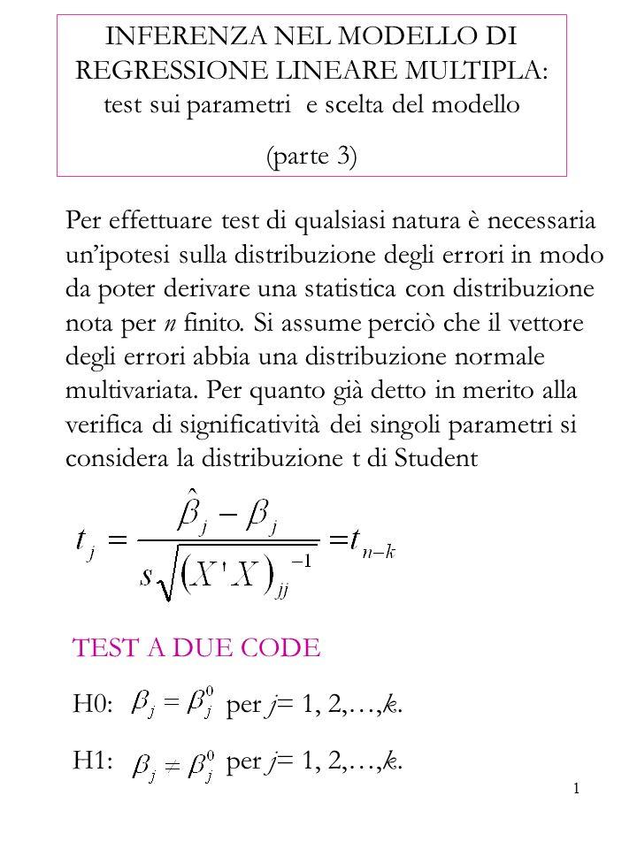 2 La statistica test di riferimento sotto ipotesi nulla diventa: Fissato il livello di significatività α, la regione critica del test è Ovvero le due code della distribuzione t di Student TEST A UNA CODA H0: per j= 1, 2,…,k.