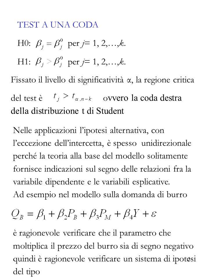 3 TEST A UNA CODA H0: per j= 1, 2,…,k. H1: per j= 1, 2,…,k. Fissato il livello di significatività α, la regione critica del test è o vvero la coda des